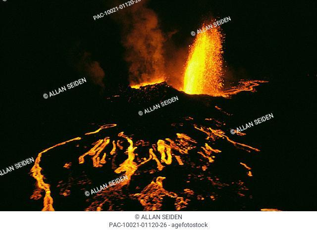 Hawaii, Big Island, Volcanic eruptions at night w/ smoke, lava flow A26A