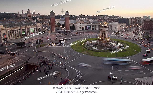 Espanya Square at night, Barcelona, Spain
