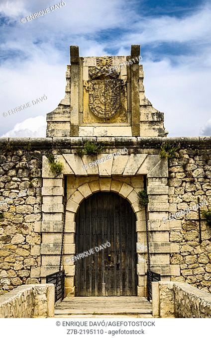 The castle gate of Chinchon village, Madrid province, Spain