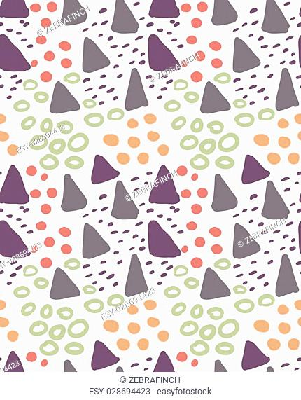 Abstract earth triangle and circles.Hand drawn with paint brush seamless background.Modern hipster style design
