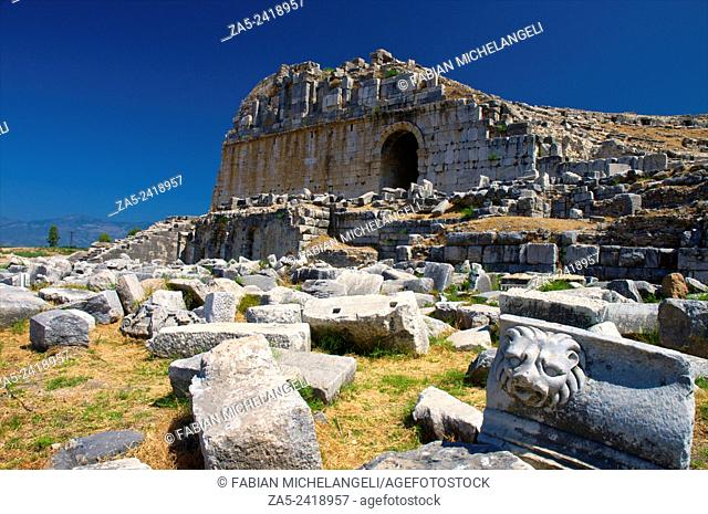 The amphitheater at Miletos showing the side entrance with vaulted door with decorated pilasters. Miletos, Anatolia, Turkey