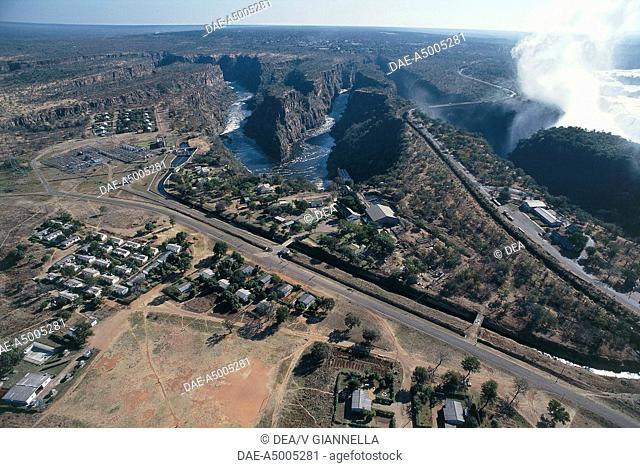 Aerial view of tourist facilities near Victoria Falls, Zambezi River (UNESCO World Heritage List, 1989) - Mosi-oa-Tunya National Park, Zambia