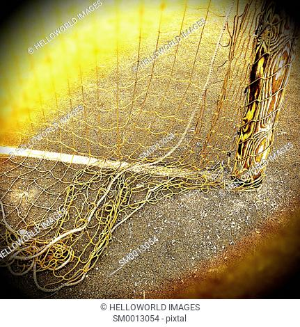 Close up of netting of football goal, Sweden, Scandinavia