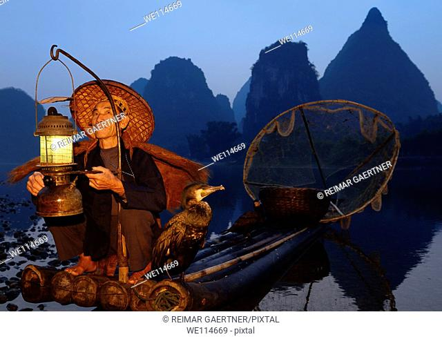 Fisherman with lantern on a bamboo raft with cormorants at dawn on the shore of the Li river Yangshuo China