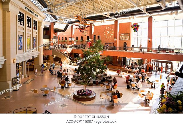 Atrium inside Market Square in Saint John, New Brunswick, Canada. In addition to shops and restaurants, the complex includes the Saint John Public Library and...