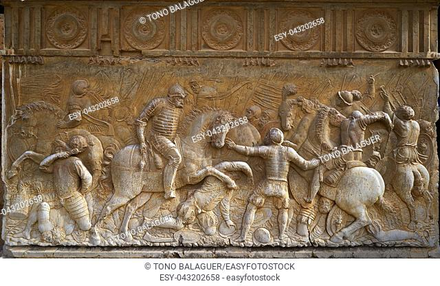 Alhambra Carlos V marble wall sculptures in Granada of Andalusia Spain