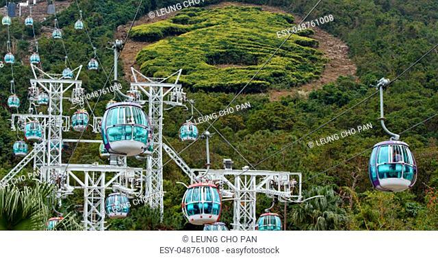 Ap Lei Chau, Hong Kong-10 December 2018: Cable car in Hong Kong ocean park