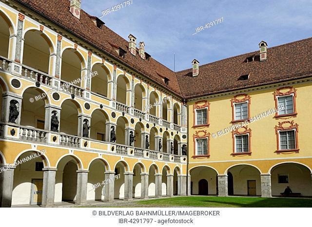 Hofburg Palace, arcaded courtyard, Diocesan Museum, Brixen, Eisacktal, South Tyrol, Alto Adige, Italy