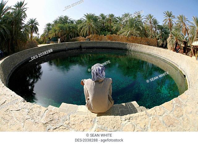 A Local Siwan Man Looks Into Cleopatra's Pool A Natural Fresh Water Spring In Siwa At The Siwa Oasis, Siwa Egypt