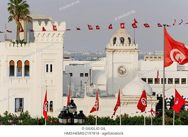 Tunisia, Tunis, downtown, Govenament Palace in Medina view from Place de la Kasbah