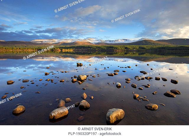 Loch Morlich and Cairngorm Mountains, Cairngorms National Park near Aviemore, Badenoch and Strathspey, Scotland, UK