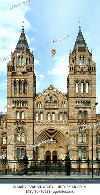 Viewed from the south side of Cromwell Road. The museum was designed by Alfred Waterhouse (1830-1905) in the 1860s and opened to the public on Easter Monday...