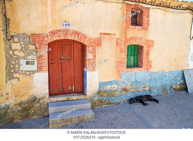 Facade of rustic house. Castillejo de Robledo, Soria province, Castilla Leon, Spain