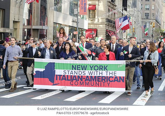 Fifth Avenue, New York, USA, October 15, 2019 - Governor Mario Cuomo along with Thousands of Peoples Participated the 2019 Columbus Day Parade in New York City