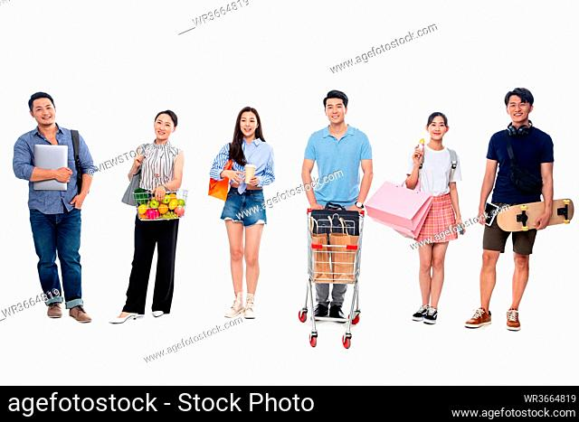 The crowd of different ages shopping