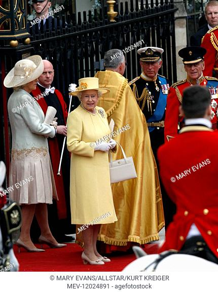 Queen Elizabeth II, Prince Philip, Prince Charles and Camilla Duchess of Cornwall after the Royal Wedding of Prince William and Princess Catherine at...