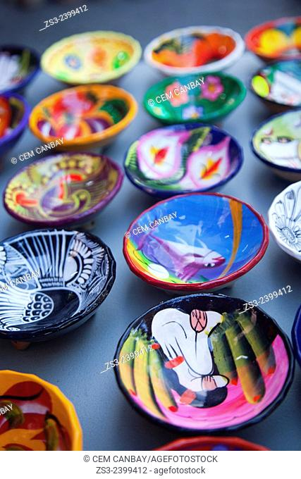 Colorful ceramic plates for sale inside of a shop, Isla Mujeres, Quintana Roo, Yucatan Province, Mexico, Central America