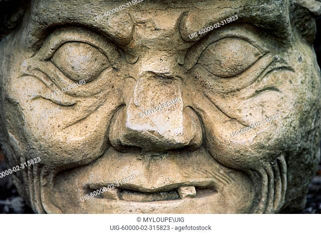 STONE SCULPTURE of MAYAN GOD of MEDECINE & SCIENCE - COPAN RUINS, HONDURAS