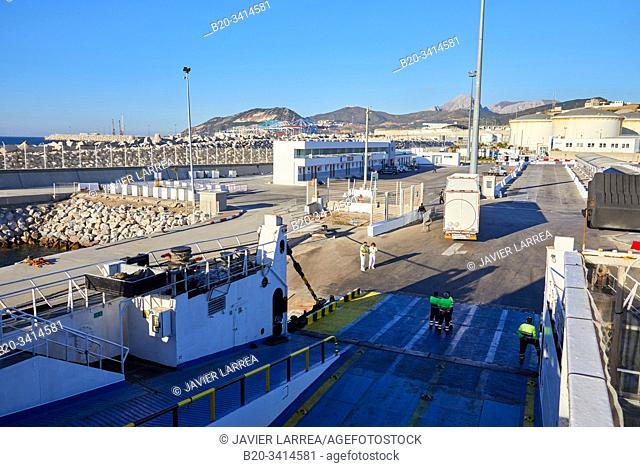 Loading trucks with a trailer, Ferry between Tangier Morocco and Algeciras Spain, Port of Tangier MED, Strait of Gibraltar, Tangier, Morocco, Africa