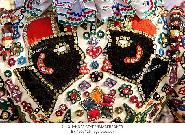 Ausseer Flinserl, costume with maures heads, Ruff or Kress, sequins, different appliqué designs, Bad Aussee, Styria, Austria