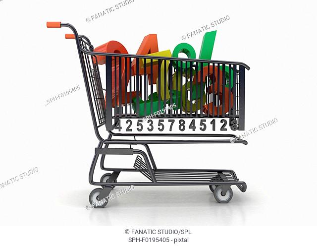 Illustration of numbers in shopping cart