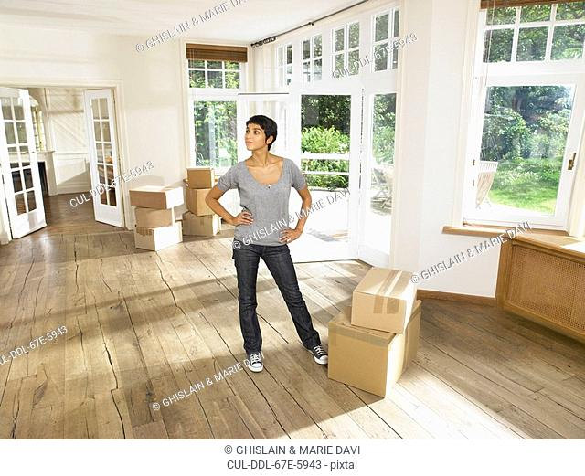 Women moving into new house