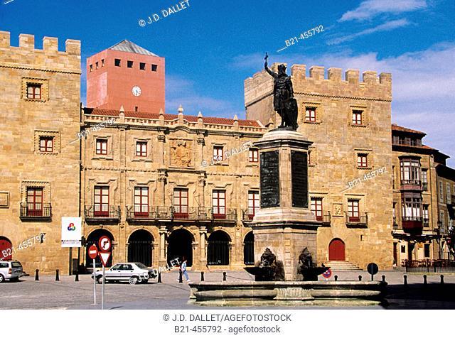 Revillagigedo Palace and statue of king Pelayo at Gijon. Asturias. Spain