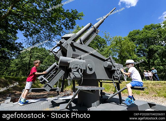 History enthusiasts unveiled the Memorial to Allied Air Raids from 1944 to 1945 in the form of a German anti-aircraft gun in Most, Czech Republic, on July 4