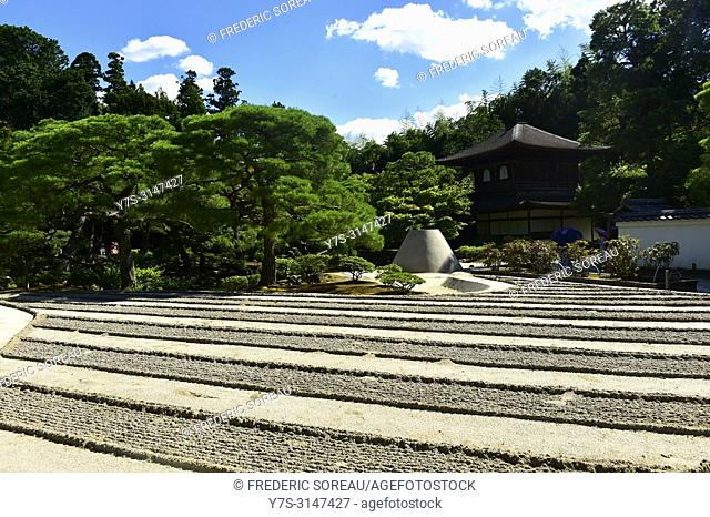 Sand garden of Ginkaku-ji, also known as the temple of the Silver Pavillion, Kyoto, Japan, Asia