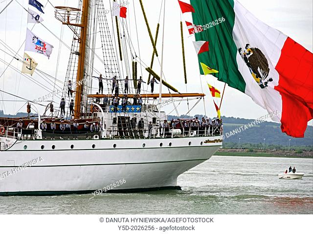 sailors on Cuauhtémoc - Mexican sailing vessel seen from Honfleur, Armada 2013 - cruise of biggest sailing vessels in the world on Seine river from Rouen to...