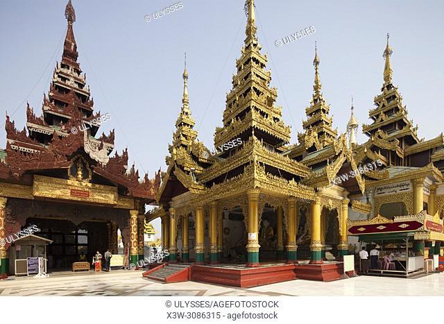 Temples inside the Shwedagon pagoda in the easter stairway area, Yangon, Myanmar, Asia