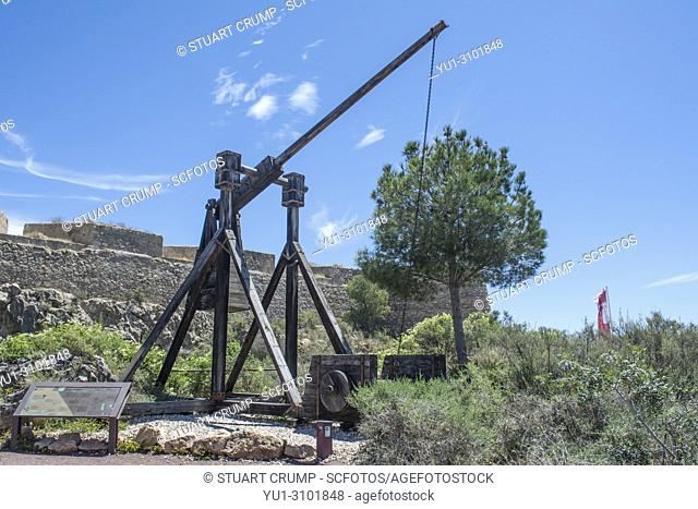 Catapult weapon in the grounds of Lorca Castle in Murcia Spain