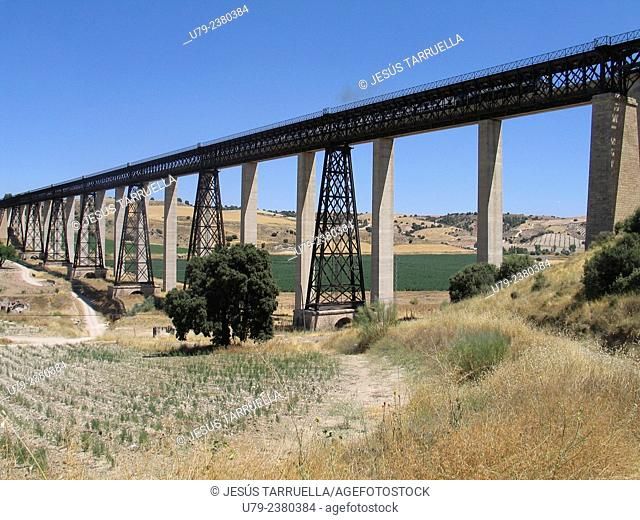 Puente del Hacho (Hacho bridge). Built by Gustavo Adolfo Eiffel in 1898 . Located between Guadahortuna and Alamedilla. Granada province. Andalusia