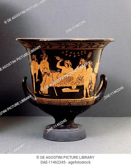 Symposium with Hephaestus and Dionysus who is raising a cup, red-figure calyx krater, from the Valley of the Temples in Agrigento, Italy