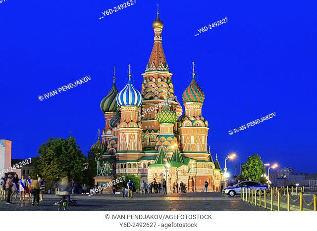 Saint Basil's Cathedral at Dusk, Red Square, Moscow, Russia