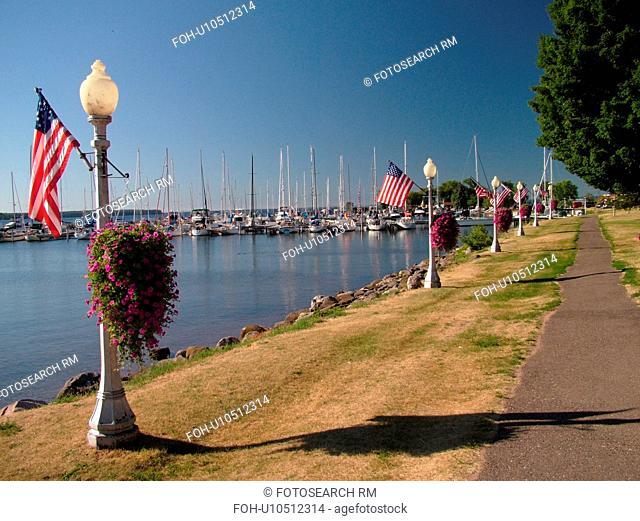 Bayfield, WI, Wisconsin, Lake Superior, lakefront, marina, harbor, recreation path