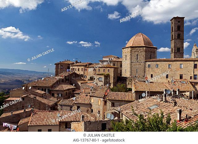 View over rooftops of Volterra Siena province Tuscany Italy