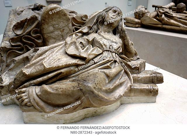 Effigy of Doña Maria de Perea. Alabaster. Spain. Toledo. 1499-1505. The Victoria and Albert Museum. London. England. UK. Europe