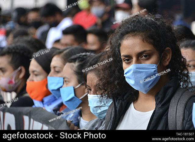 MEXICO CITY, MEXICO - SEPTEMBER 25: A person joins a protest to commemorate the 6th anniversary of the 43 students of normal school who disappeared on September...