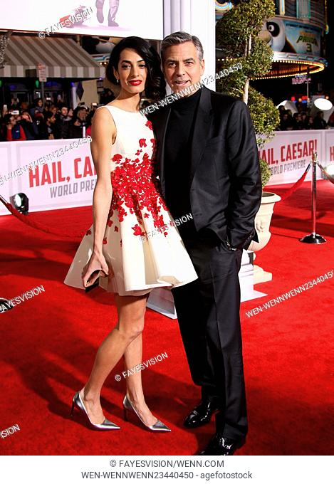 """Premiere Of Universal Pictures' """"""""Hail, Caesar!"""""""" Featuring: Amal Clooney, George Clooney Where: Westwood, California, United States When: 02 Feb 2016 Credit:..."""