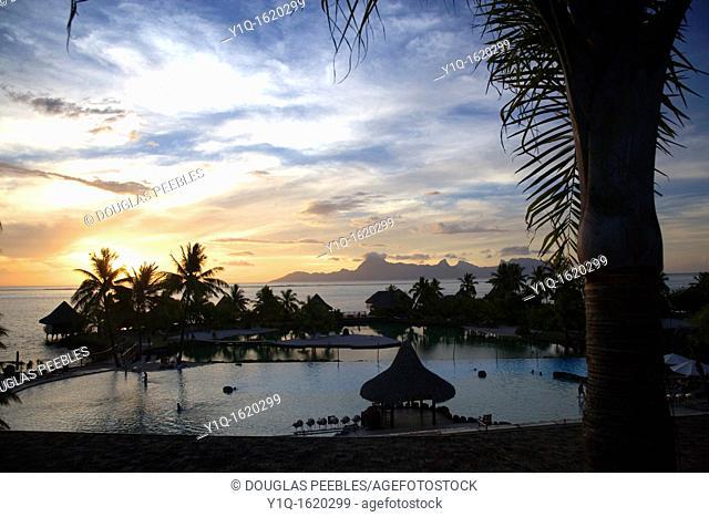 Sunset, Moorea seen from Beachcomber Resort, Papeete, Tahiti, French Polynesia