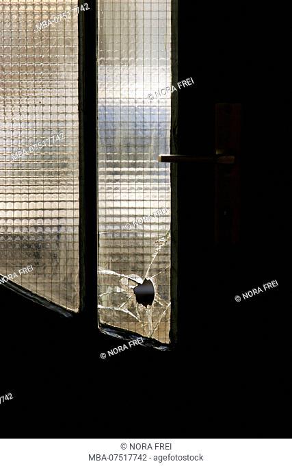 Doorway, door, broken glass