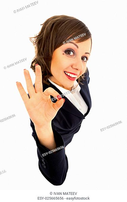 Businesswoman isolated on white background shot with wide angle lenses