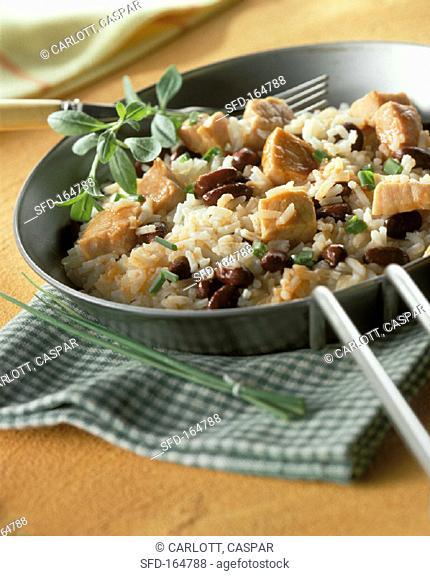 Pan-cooked rice dish with smoked pork rib (Kasseler) & beans