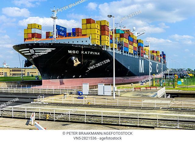 ANTWERP, BELGIUM - SEPTEMBER 9: MSC Katrina in Berendrechtsluis in the port of Antwerp on September 9, 2012 in Belgium