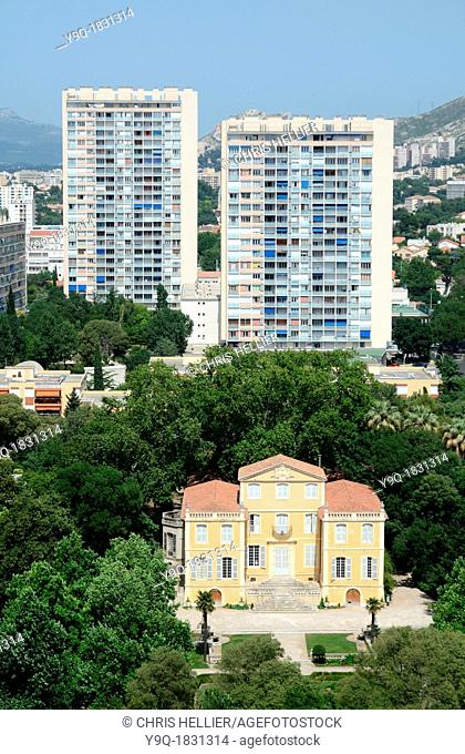 Aerial View of c18th Bastide de la Magalone & Tower Blocks in Southern Suburbs of Sainte Marguerite Marseille or Marseilles France