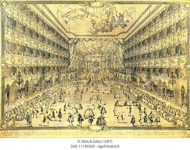 Italy, 18th century. Interior of the Teatro Ducale: prospect of the great theatre of Milan on the occasion of the jubilee celebrations of the birth of the...