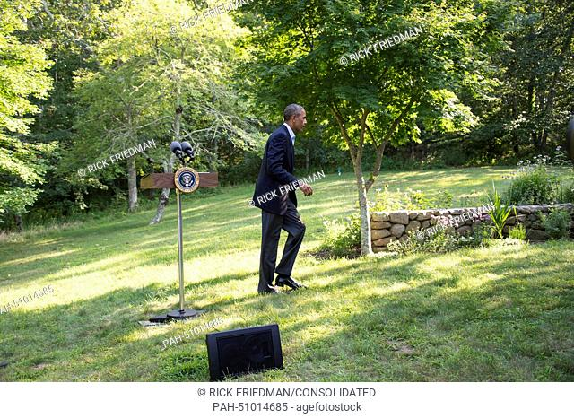 United States President Barack Obama makes a statement on Iraq during his vacation at Martha's Vineyard in Chilmark, USA, 11 August 2014