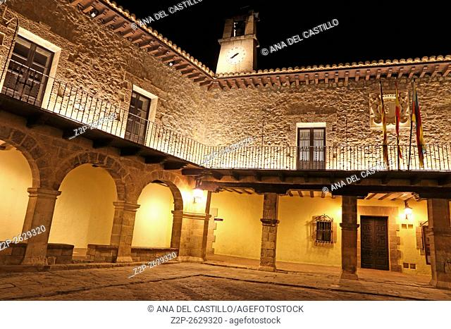 View of spanish town in evening. Albarracin in Teruel, one of the most beautiful villages in Spain. The main square
