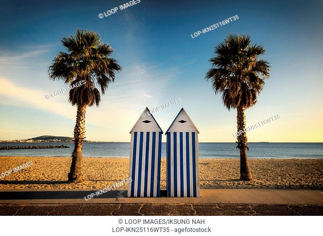 Two palm trees and beach huts on the beach of Meze Herault in France